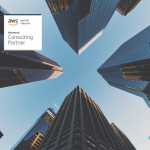 Tall buildings with AWS badge