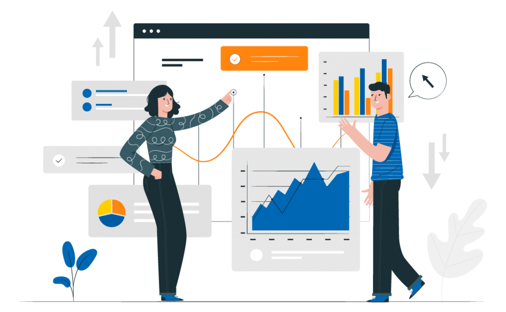 Graphic illustration depicting 2 people looking at various graphs and charts representing an analytics and reporting dashboard.