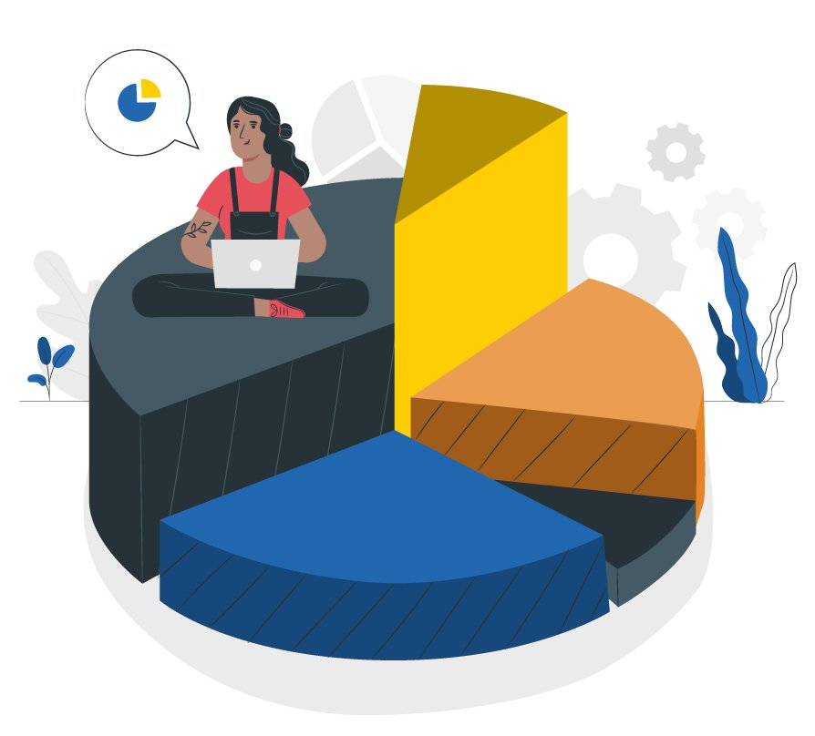 Graphic illustration of a female sitting on top of a pie chart, representing segmentation of audiences.