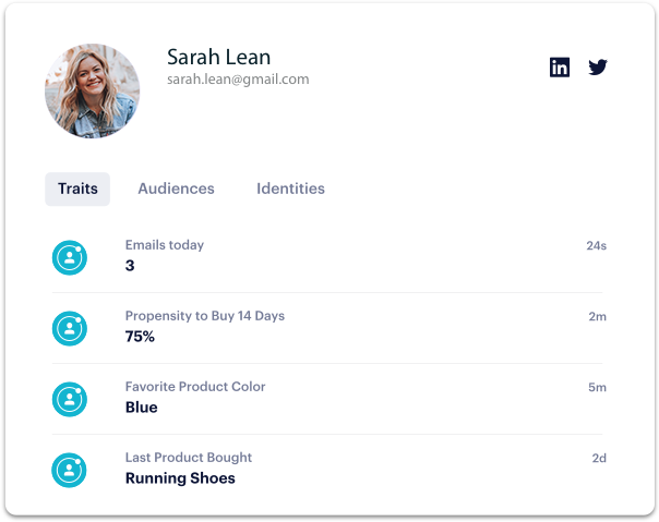 Product analytics user profile with statistics on email, propensity to buy, customer traits and more